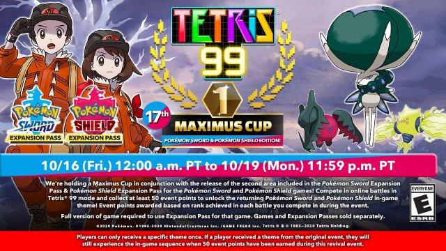 Comienza el nuevo evento de Tetris 99 en colaboración con Pokémon Espada y Escudo
