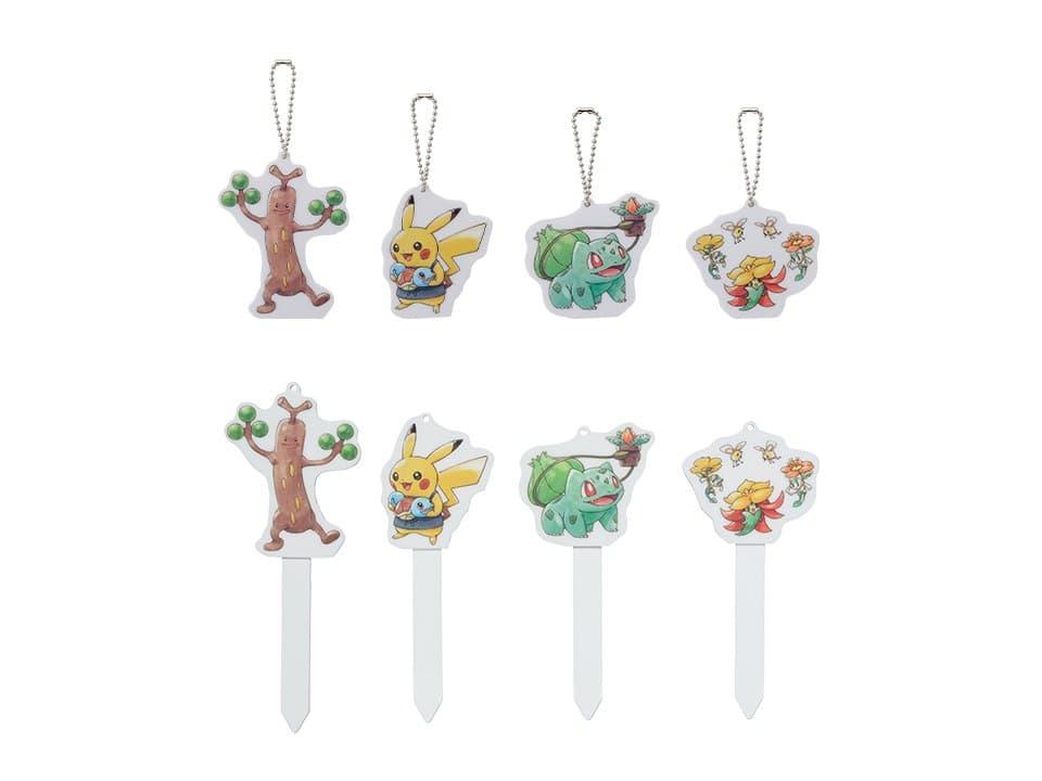 Marcadores para plantas y llaveros de los Pokémon Sudowoodo, Pikachu, Bulbasaur y Gossifleur junto a Cutiefly y Floette